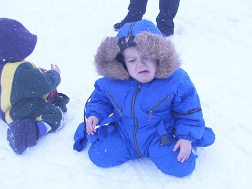 Heart broken or just hit in the chops with a snowball? You decide.